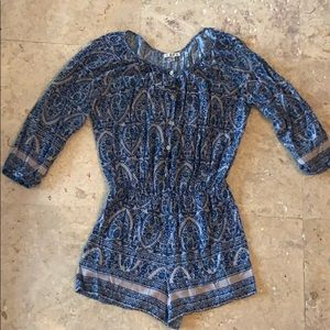 Blue and grey long sleeve romper